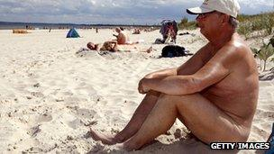 Nudist beach in Ahlbeck