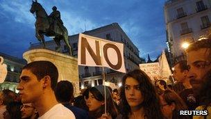 Protesters in Puerta del Sol square, Madrid, 12 May 2012