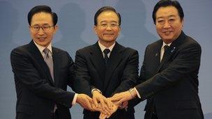 South Korean President Lee Myung-bak, China Premier Wen Jiabao and Japanese Prime Minister Yoshihiko Noda