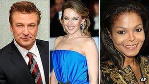 Alec Baldwin, Kylie Minogue and Janet Jackson