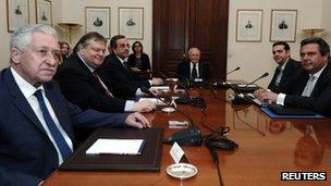 Greek political leaders at a meeting in Athens on 15 May