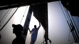 Setting sail on a Felucca, Aswan, Egypt