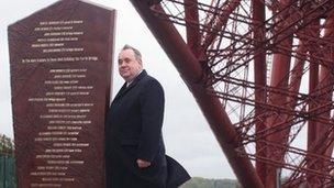 Alex Salmond unveils new Forth Bridge memorials
