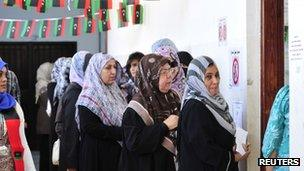 Libyans wait outside a polling station in the local council elections in Benghazi May 19, 2012.