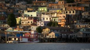 Shantytown in Manaus seen from the Amazon River