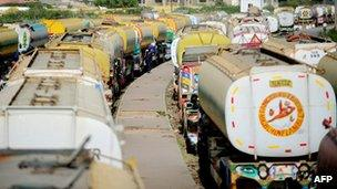 Tankers used for Nato supplies, parked in Karachi, Pakistan, 17 May 2012