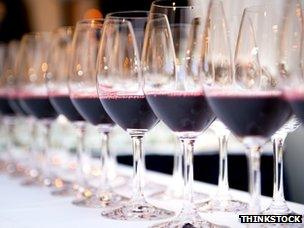 Line-up of red wine glasses