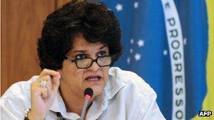 Environment Minister Izabella Teixeira at a news conference in Brasilia