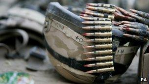 A British soldier's helmet and bullets in Afghanistan, 2007