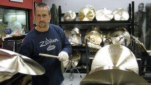 Cymbals being tested at a Zildjian factory