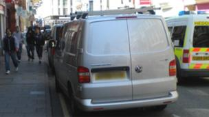 Vehicles parked on double yellow lines in Terrace Road, Aberystwyth, last year