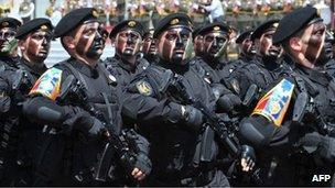 Armenian fighters parade in Stepanakert, Nagorno-Karabakh, 9 May 2012