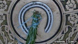 Bouquet of rosemary on the horseshoe