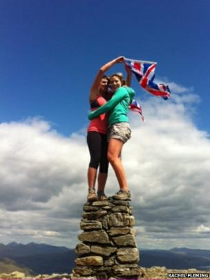 Rachel Fleming and Harriet Ball at the top of Ben Narnairn