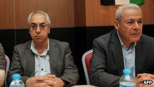 Abdelbaset Sayda (L) and Burhan Ghalioun (R) at the meeting in Istanbul 9 June