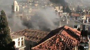 Image said to show shelling in Homs, Syria, 11 June
