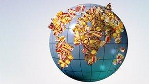 World made of hot dogs and sweets