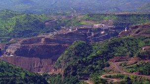 Aerial view of Gibe III dam under construction in Ethiopia