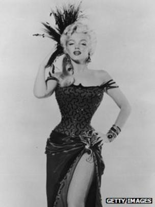 b04111a8c7 Marilyn Monroe in costume as dance hall girl in 1954