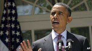 President Barack Obama speaks to reporters in the White House Rose Garden 15 June 2012