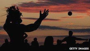 Giant statue at Stonehenge solstice celebrations