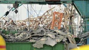 Part of the ruined Fukushima plant