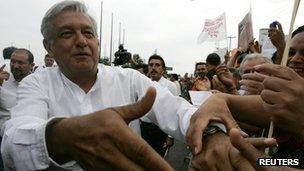 Andres Manuel Lopez Obrador at a rally in Guadalajara, Mexico