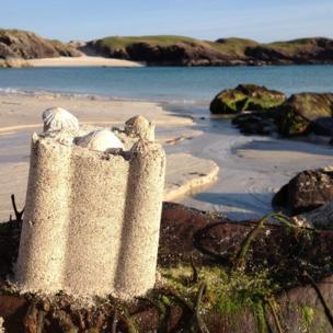 Sandcastle on a beach in Sutherland