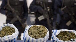 Mexican police stand guard over seized marijuana