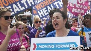 Women protest in support of the ACA