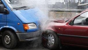 Car and van crash