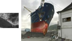 After the tsunami to hit Japan, a ship lies stranded