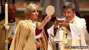 Right Reverend Kay Goldsworthy being ordained in Australia