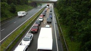 Cars on the A55