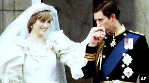 Princess Diana and Prince Charles at Buckingham Palace after their wedding