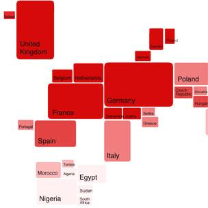 Internet user map of the world