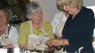 The Duchess of Cornwall having a go of tortellini