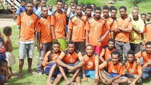 Donated shirts are worn in Papua New Guinea