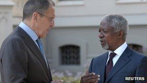 Sergei Lavrov and Kofi Annan, 16 July 2012