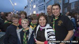 Deputy Michelle Le Clerc amongst scouts at the Harbour Carnival