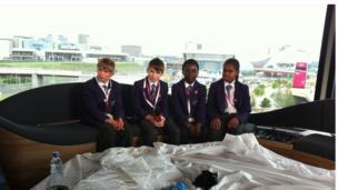 School Reporters on the sofa in the BBC Olympic studio