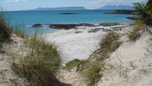 View from the beach of the Isles of Eigg and Rum
