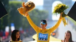 Bradley Wiggins, winner of the 2012 Tour de France cycling race on the podium of the the Tour de France cycling race in Paris, France, Sunday July 22, 2012.