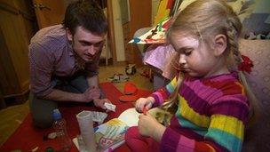 Pyotr Verzilov, husband of Pussy Riot member Nadia Tolokonnikova with their four-year-old daughter Gera