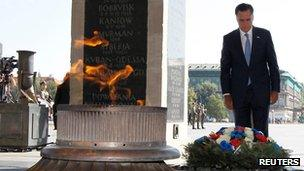 Mitt Romney at the Tomb of the Unknown Soldier in Warsaw, Poland (July 31, 2012)