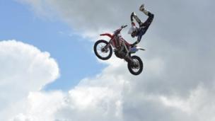A stunt rider