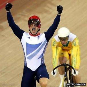 Chris Hoy celebrates