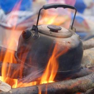 Kettle on a camp fire