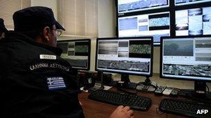 Police monitoring border cameras via computer
