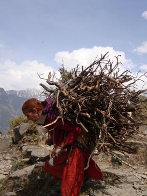 A woman carrying wood